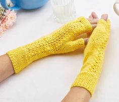 Use any laceweight yarn to knit up our sweet mitts