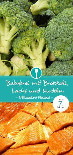 Babybrei mit Fisch: Brokkoli-Lachs-Nudeln-Brei. Mittagsbrei für Babys ab dem 7.Monat.