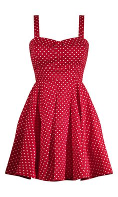 Super cute swing style full skirted red polka dot dress. Made in the USA, full skirt, swing, dress, pin up, rockabilly, sweetheart, big, white, straps, car, show