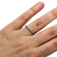 Blue Diamond Band Diamond Wedding Ring Anniversary by RareEarth