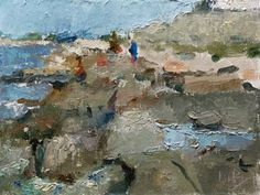 """Daily+Paintworks+-+""""On+the+Rocks""""+-+Original+Fine+Art+for+Sale+-+©+Randall+Cogburn"""