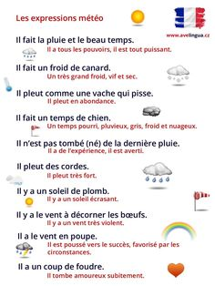 Les expressions météo French Travel Phrases, French Phrases, French Words, French Quotes, French Language Basics, French Language Lessons, French Language Learning, French Lessons, French Conversation