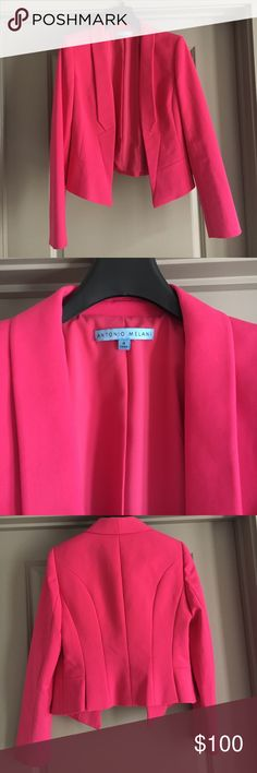 Pink Antonio Melani blazer.  NEVER BEEN WORN. This never been work pink Antonio Melani blazer is perfect for work or to dress up some jeans.  I just never had the opportunity to wear it. ANTONIO MELANI Jackets & Coats Blazers
