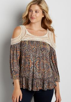 peasant top with crochet in floral and paisley print (original price, $32.00) available at #Maurices
