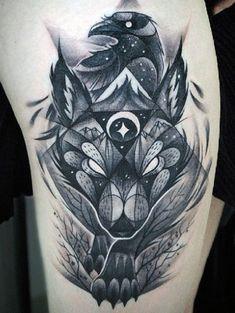 Men'S wolf tattoo meaning rabe tattoo, tattoo artists, geometric tattoo meaning, crow tattoo Life Tattoos, Body Art Tattoos, New Tattoos, Sleeve Tattoos, Tattoos For Guys, Cool Tattoos, Crow Tattoo For Men, Ladies Tattoos, Tatoos