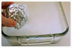 MOM Tip: A ball of aluminium foil makes a great glassware scrubber! Ball up a small piece of aluminum foil, add a bit of dishwashing liquid and hot water to the pan and scrub lightly. This tip from Budget Diy Cleaning Products, Cleaning Hacks, Cleaning Solutions, Organizing Tips, Glass Pan, Clean Freak, Kitchen Hacks, Things To Know, Home Hacks