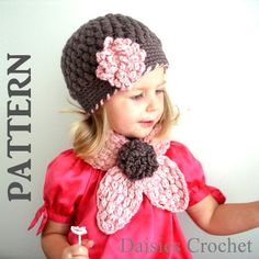 Pattern for Crochet Hat, Flower, and Scarf.  Cute!