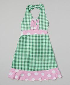 Green Gingham Halter Dress - Infant, Toddler & Girls #zulily #zulilyfinds