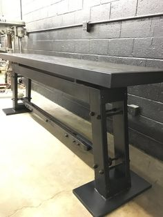 Solid wood top and steel construction. This item can be made to any size. Size will determine price. Ask about shipping cost to your location