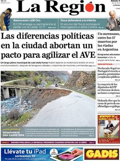 Los Titulares y Portadas de Noticias Destacadas Españolas del 6 de Abril de 2013 del Diario La Región ¿Que le parecio esta Portada de este Diario Español?