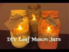 DIY Leaf Mason Jars Pinterest Inspired - YouTube