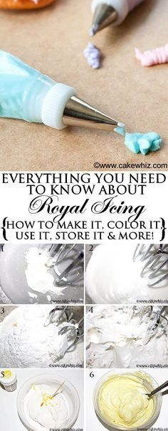 you need to know about easy ROYAL ICING recipe! How to make it, How to decorate with it, How to to store it, How to color it and many more tips and tricks. From you need to know about easy ROYAL ICING recipe! How to make it, How to decorate with it Icing Frosting, Frosting Recipes, Fondant Recipes, Royal Frosting, Fondant Tips, Piping Icing, Cake Recipes, Royal Icing For Piping, How To Color Royal Icing