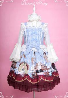 Diamond Honey -Alice's Creepy Tea Party- Halloween Themed Lolita Jumper Dress