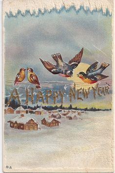 Antique Robins Birds Happy New Year Greeting