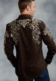 03-001-0040-0795 BR Mens Hottest Fashion, Mens Fashion, Stylish Shirts, Cool Shirts, Camisa Rock, Chemises Country, Dress Suits For Men, Vintage Western Wear, Country Outfits