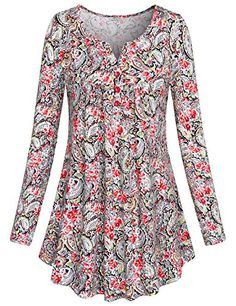 SeSe Code Women's Crewneck Long sleeve Floral Shirts Flared Casual Tunic Tops - My Free Spirit Boutique Tunic Shirt, Tunic Tops, Shirt Dress, Red Blouses, Shirt Blouses, Long Sleeve Tunic, Floral Shirts, Floral Tops, Sleeves