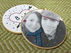transfer photos to fabric with freezer paper and embroider - great idea for diy christmas gifts.