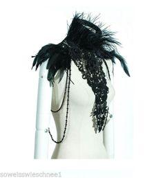 RQ-BL-Gothic-Feder-Choker-Top-Maleficent-Halskette-Kragen-Bolero-Jacke-WGT-21222