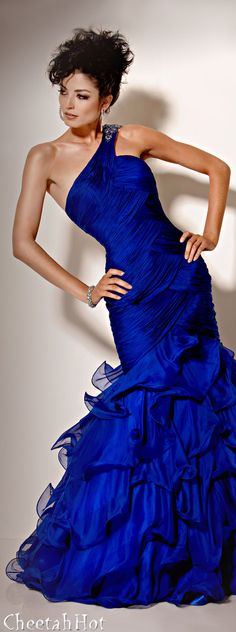 I wish I were a celebrity and 40 years younger so I could wear all the styles I love!  JOVANI - Royal Blue Ruffles