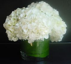Low Centerpieces- will have hydrangea, but bridesmaid bouquets to be added when ceremony and photos are over