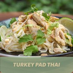 Re-create a takeout favourite right at home tonight. Lyne Pedneault's Turkey Pad Thai recipe will have everything prepped, cooked, and on the table in just 30 minutes. This dish also makes perfect leftovers for the next day! Thai Recipes, Filipino, Recipies, Turkey, Meals, Dishes, Drink, Baking, Create