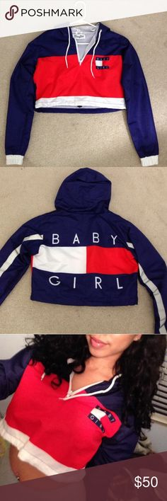 Baby girl crop windbreaker limited edition! Hard to let go. Aaliyah inspired baby girl windbreaker. Simply too small for me it's a size small but runs like an extra small I prefer a medium! For you tiny girls this is for you.❤️ Thugave Jackets & Coats