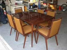 Vintage P Habeo Germany Schrager Mid Century Modern Dining Room Table 6 Chairs Mid Century Modern Dining Room, Modern Dining Room Tables, Mid Century Modern Furniture, Dining Table, Howard House, House Numbers, Side Chairs, Outdoor Tables, Mid-century Modern