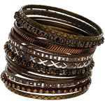 Brown Etched And Bead Bangles