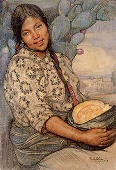 Mujer con calabaza - Saturnino Herran