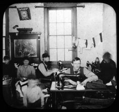 Tenement Sweatshop, c. 1900 - similar to where Eddie and his father worked.