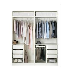 PAX Wardrobe, white, Bergsbo frosted glass, 78 This wardrobe combination is just as good looking on the outside as it is clever on the inside. Pax Closet, Ikea Pax Wardrobe, Bedroom Wardrobe, Wardrobe Doors, Wardrobe Closet, Built In Wardrobe, Home Bedroom, Closets, Wardrobe Organisation