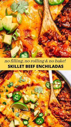 Enchilada Sauce Recipes, Beef Enchilada Skillet Recipe, Skillet Enchiladas, Easy Enchilada Casserole, Easy Beef Enchiladas, Ground Beef Enchiladas, Easy Skillet Meals, Ground Beef Recipes For Dinner, Food Dishes