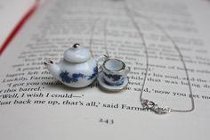 Teapot & teacup charm necklace sterling silver, mini tea set vintage inspired £14.99