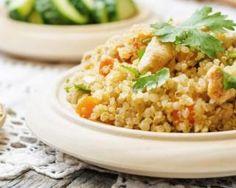 Risotto de quinoa light aux carottes et blanc de poulet pour déjeuner léger