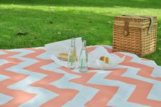 Painted Dropcloth Picnic Blanket.  Tarp about $7 at Lowes / HD.