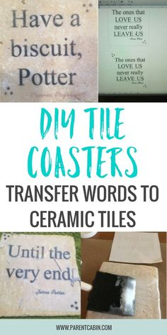 Good Pic Ceramics Tile crafts Tips I thought about buying a cricut to transfer vinyl words and make DIY tile coasters, but after some How To Make Coasters, Diy Coasters, Ceramic Coasters, Diy Tuiles, Ceramic Tile Crafts, Tile Transfers, Coaster Crafts, Buy Tile, Parental