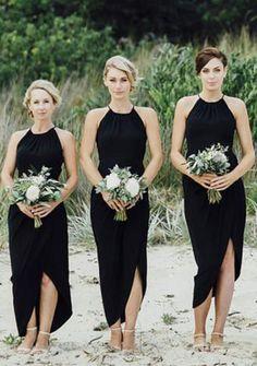 Black Split Sexy Cheap Simple Beach Wedding Party Bridesmaid Dresses, PM0802