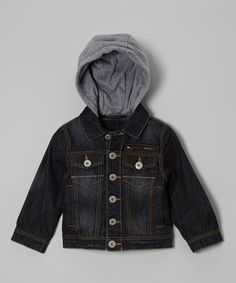 Another great find on #zulily! Dark Wash Five-Pocket Denim Hooded Jacket - Boys by Urban Republic #zulilyfinds