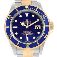 16319 Rolex Submariner Steel 18K Yellow Gold Blue Dial Bezel Mens Watch 16613 SwissWatchExpo