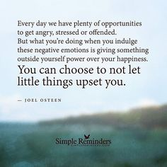 """Every day we have plenty of opportunities to get angry, stressed or offended. But what you're doing when you indulge these negative emotions is giving something outside yourself power over your. Great Quotes, Quotes To Live By, Me Quotes, Inspirational Quotes, Motivational, Fact Quotes, Queen Quotes, Quotable Quotes, Wisdom Quotes"