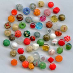 SOLD: Diminutive vintage glass buttons many colors