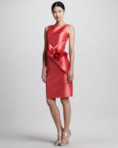 A bridesmaid dress they'll actually wear again. Sleeveless Ruffle-Waist Cocktail Dress by Carmen Marc Valvo at Elizabeth Anthony Esther Wolf in uptown Park #wedding #bridesmaid