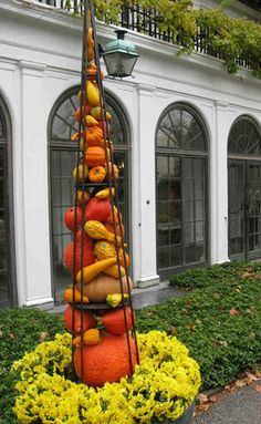 Tall tuteur filled with gourds designed by Kari Getchonis. Less glaring variety of mums around base would improve it. I'd try warm gold-orange Crysanthemums, nearby on this board, with a dark green accent. Halloween Pumpkins, Fall Halloween, Garden Art, Garden Design, Fall Decor, Autumn Decorating, Tomato Cages, Longwood Gardens, Autumn Scenery