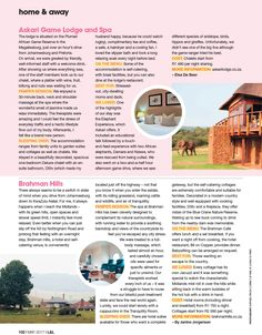 Askari Game Lodge & Spa featured in Home and Away magazine Game Lodge, Game Reserve, Hotel Spa, Home And Away, Magazine, News, Magazines