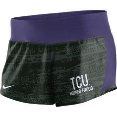 Nike Women's TCU Horned Frogs Black/Purple Crew Performance Shorts, Size: Medium