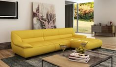 Tips That Help You Get The Best Leather Sofa Deal. Leather sofas and leather couch sets are available in a diversity of colors and styles. A leather couch is the ideal way to improve a space's design and th Yellow Leather Sofas, Italian Leather Sofa, Yellow Sofa, Best Leather Sofa, Leather Sectional Sofas, Modern Sectional, Leather Living Room Furniture, Modern Furniture, Outdoor Furniture