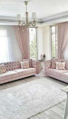 Wohnzimmer Farben rosa weiß vintage Deko Kissen Gardinen | Wohnen