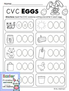 Practice spelling CVC words with this Easter themed printable! Kindergarten Language Arts, Kindergarten Lessons, Kindergarten Worksheets, Classroom Fun, Kindergarten Classroom, Easter Activities, Preschool Ideas, Learning Activities, Spring School