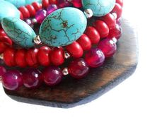 Faceted Agate stone, Turquoise stone, red Magnesite.