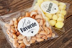 Lite bites: Give your guests something to munch on for the ride home by creating mini bags of your favorite snacks or candies. Create a section for his favorite and her favorite so you each get your pick, plus it lets your individual personalities shine through.